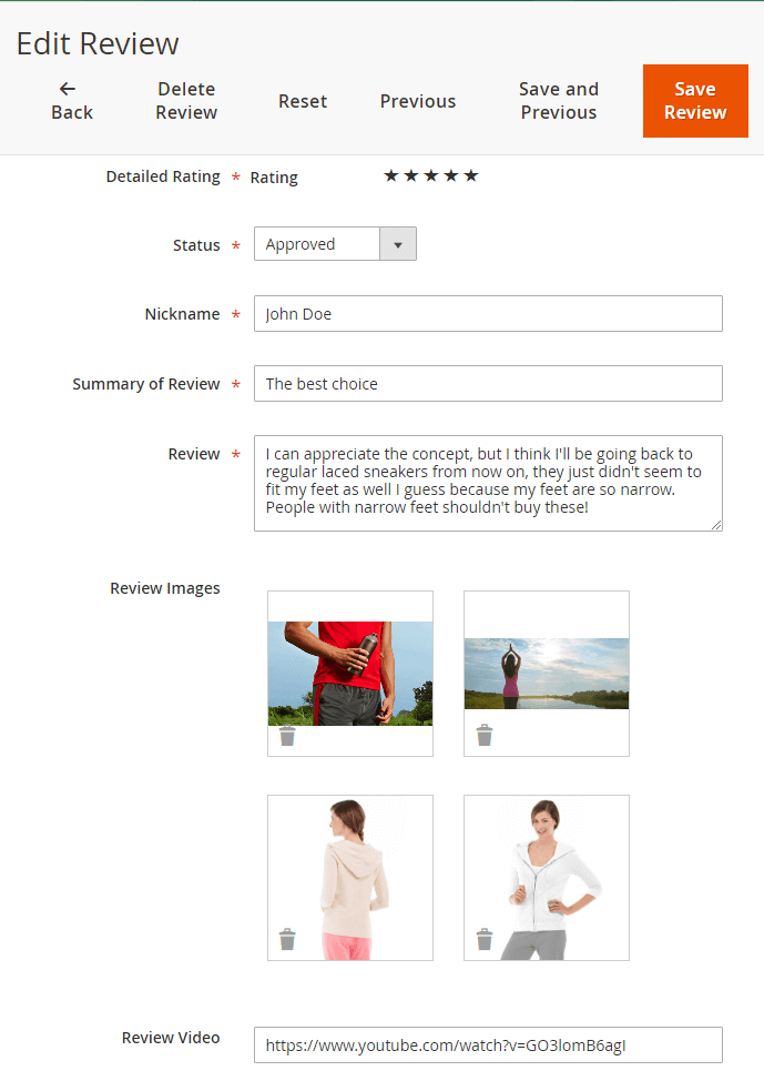 Product reviews with images and video admin form on backend for magento 2